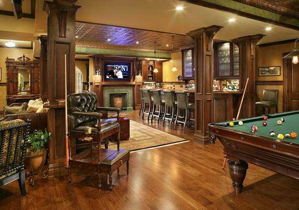 Impresive garage conversion into a man cave