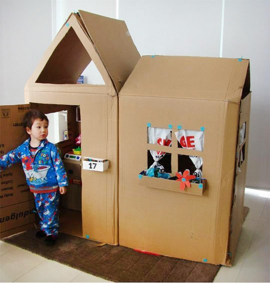 image of a cardboard box fort that is quite big