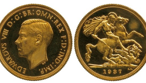 Image of the extremely rare 1937 Edward VIII sovereign