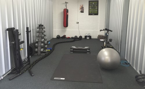 Image showing a storage unit converted into a gym