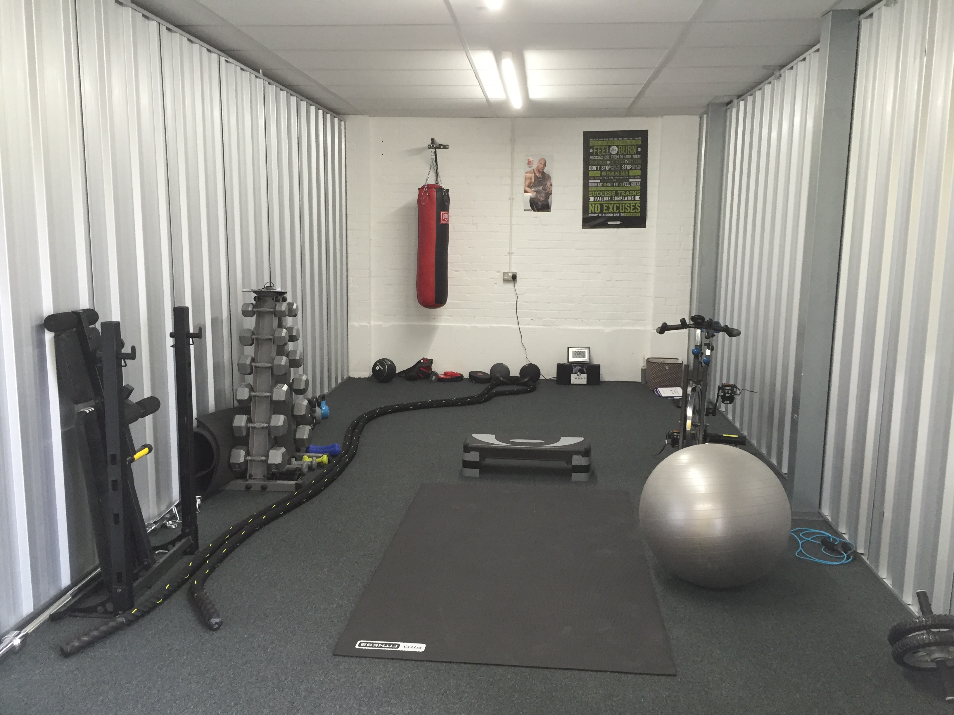 Superb Image Showing A Storage Unit Converted Into A Gym