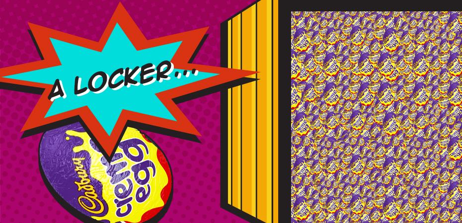 A locker full of Creme Egg Minis