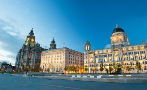 Three Graces, buildings on Liverpool's waterfront at night iStock_000027576978_Small