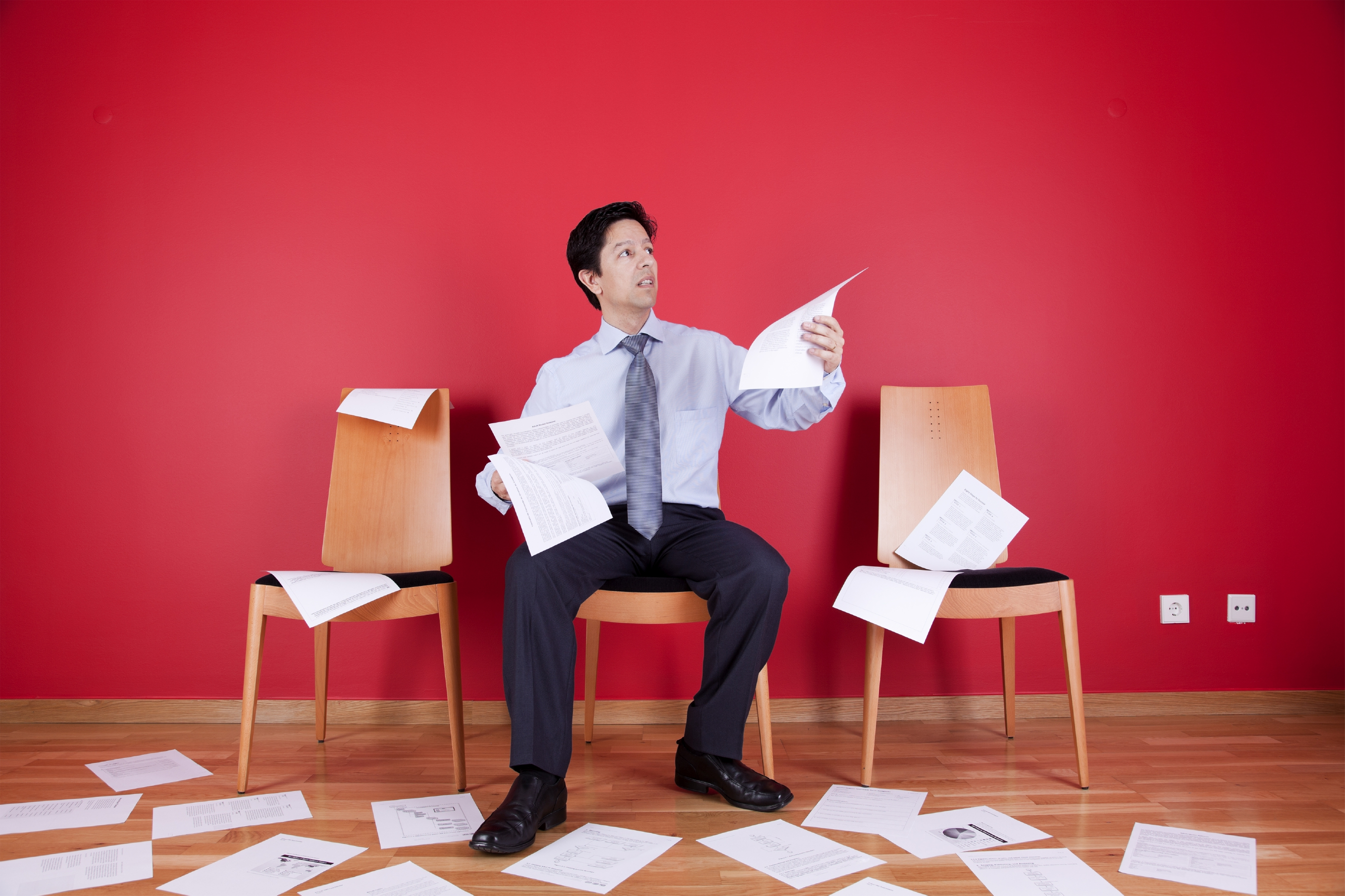 Business Man with papers to archive and store