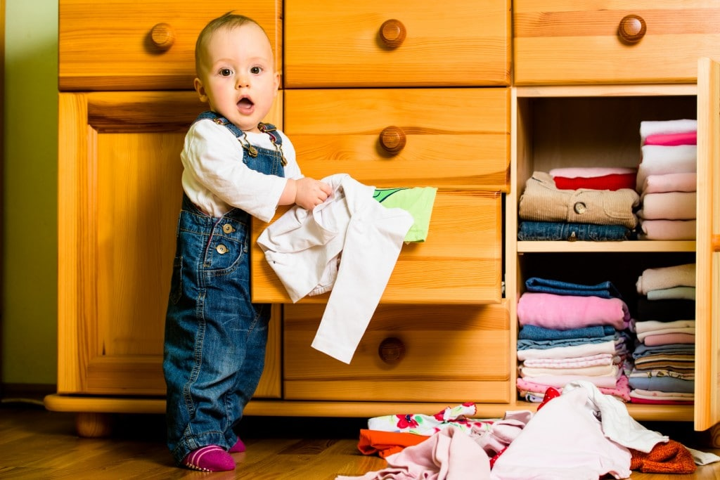 Baby Bedlam -Domestic chores - baby throws out clothes