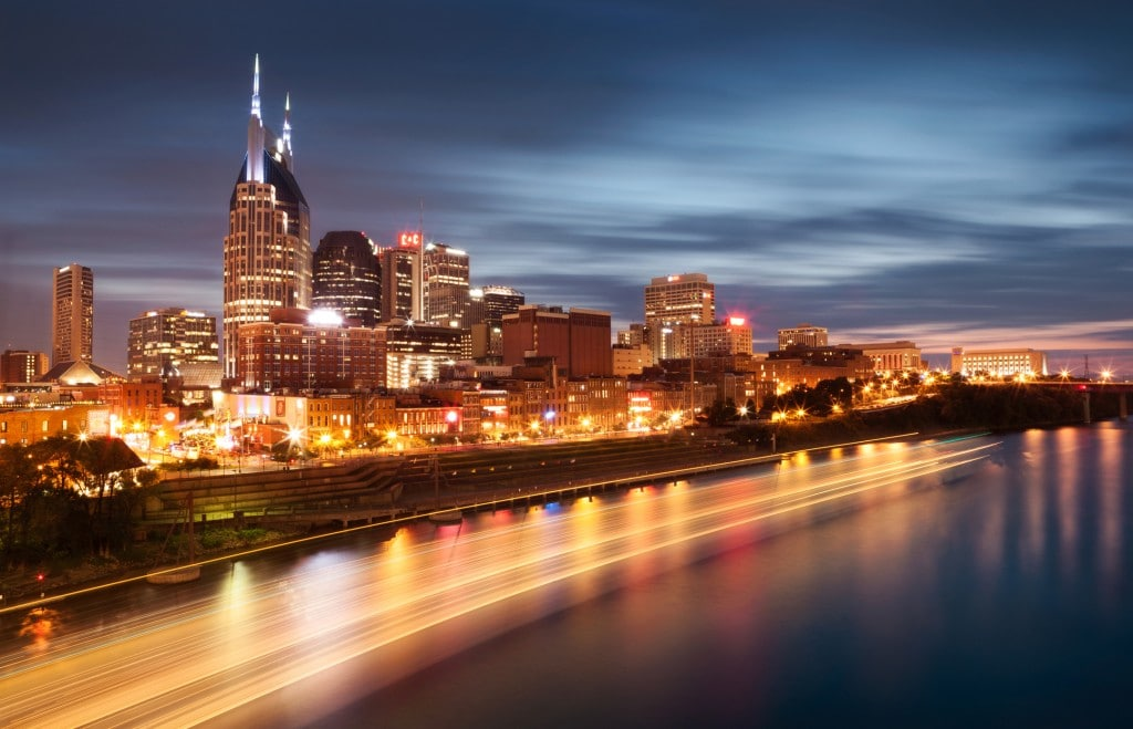 Nashville Tennessee Skyline downtown at Dusk