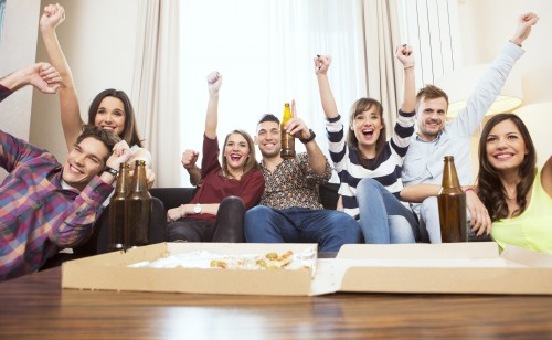 Group of student watching TV