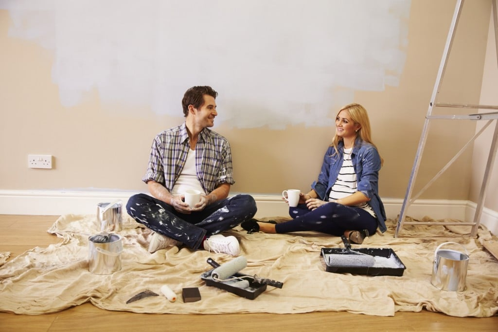couple decorating home