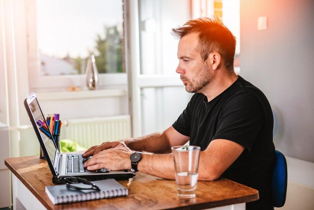 A Man Enjoying his Home Office