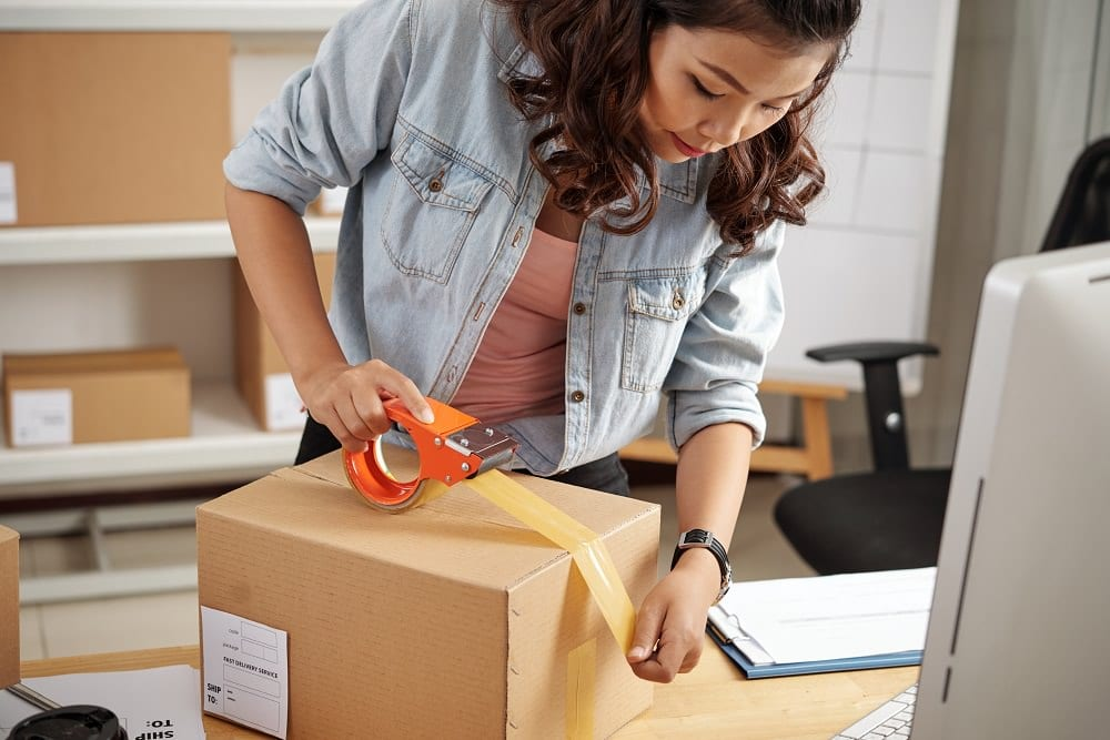 Packing customer's orders in box