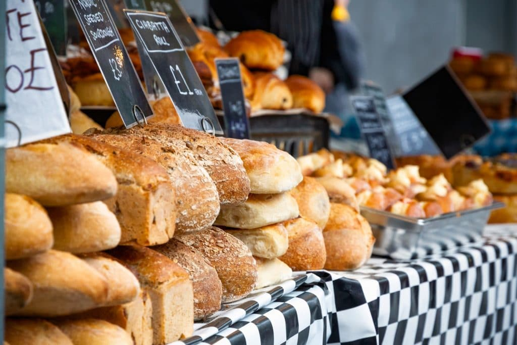 different types of bread on a market
